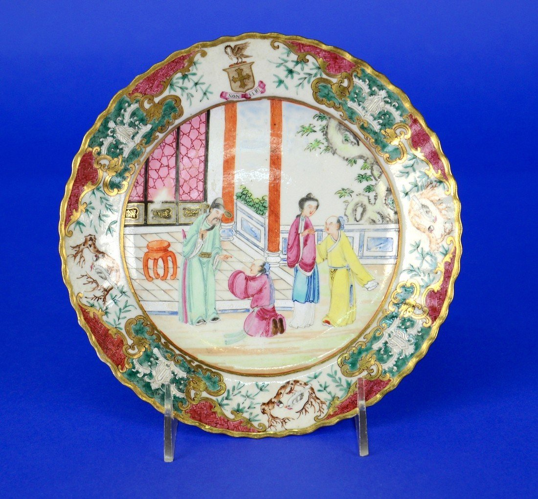 CHINESE EXPORT ROSE MANDARIN ARMORIAL PLATE, 19th