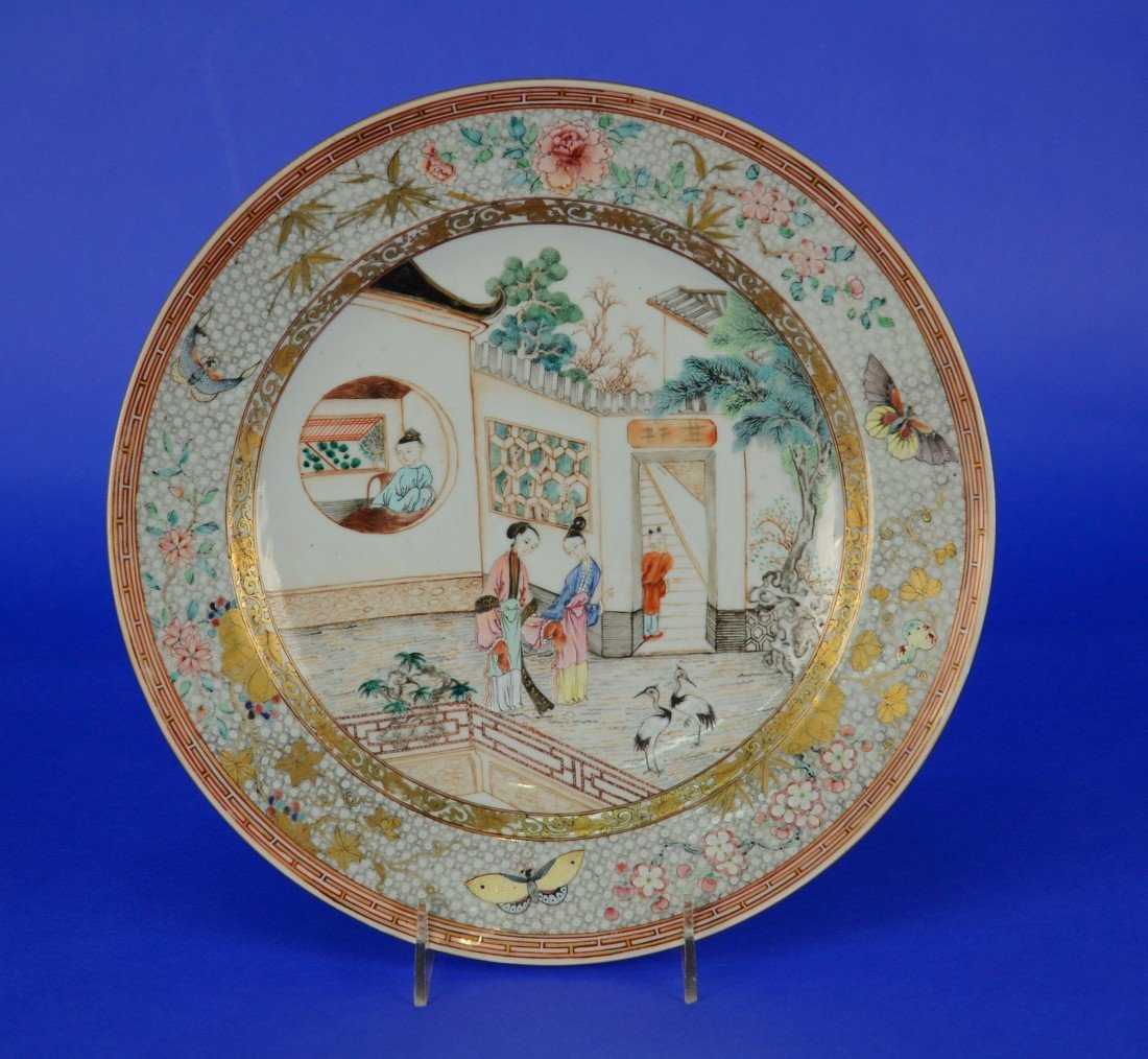CHINESE EXPORT ROSE MANDARIN CHARGER, 18th/19th century;
