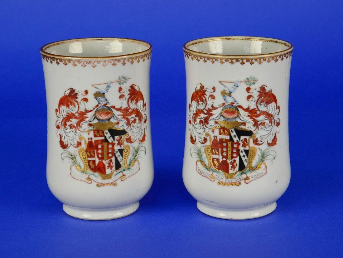 PAIR OF CHINESE EXPORT ARMORIAL DECORATED TANKARD MUGS,