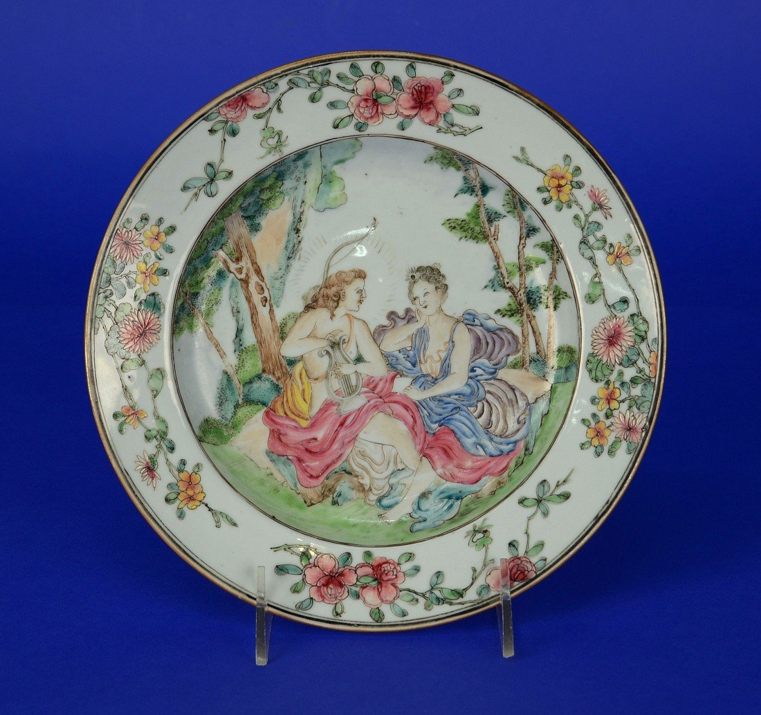 CHINESE EXPORT MYTHOLOGICAL SUBJECT FAMILLE ROSE PLATE,