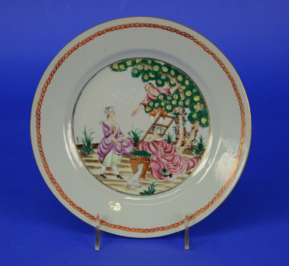 "CHINESE EXPORT EUROPEAN SUBJECT ""CHERRY PICKERS"" PLATE,"