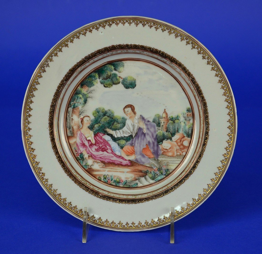 CHINESE EXPORT EUROPEAN SUBJECT FAMILLE ROSE PLATE,