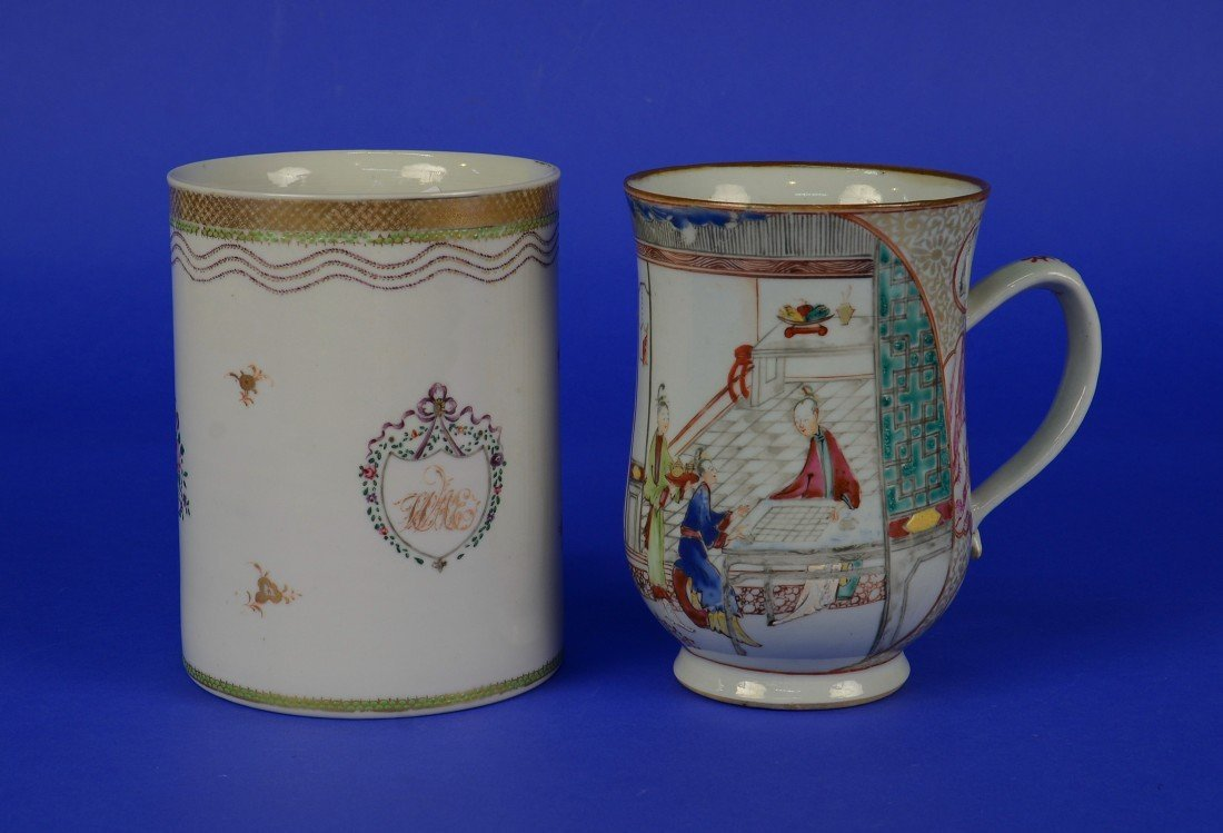 TWO CHINESE EXPORT FAMILLE ROSE TANKARD MUGS, 18th/19th