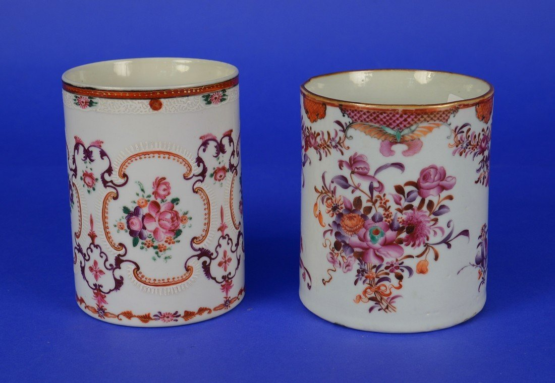 TWO SIMILAR CHINESE EXPORT FAMILLE ROSE MUGS, 18th/19th