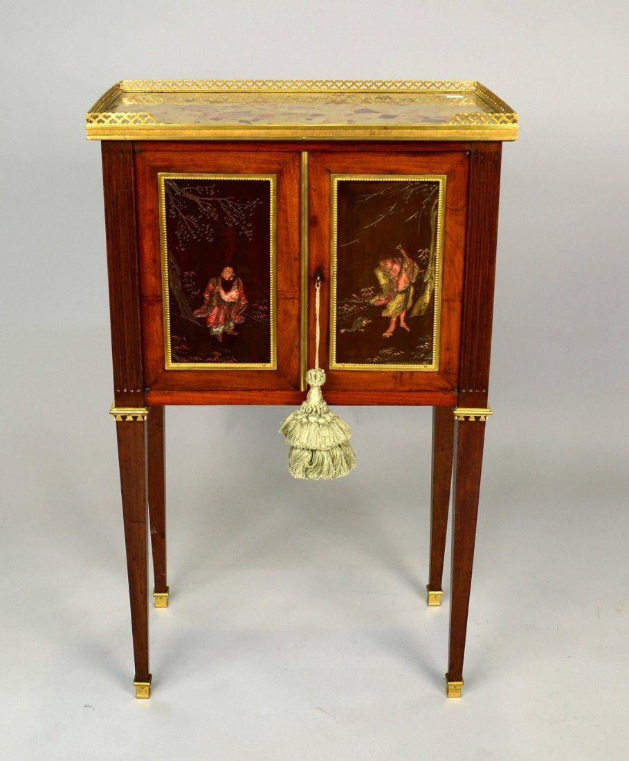 LOUIS XVI FRUITWOOD ORMOLU MOUNTED MARBLE TOP TABLE A