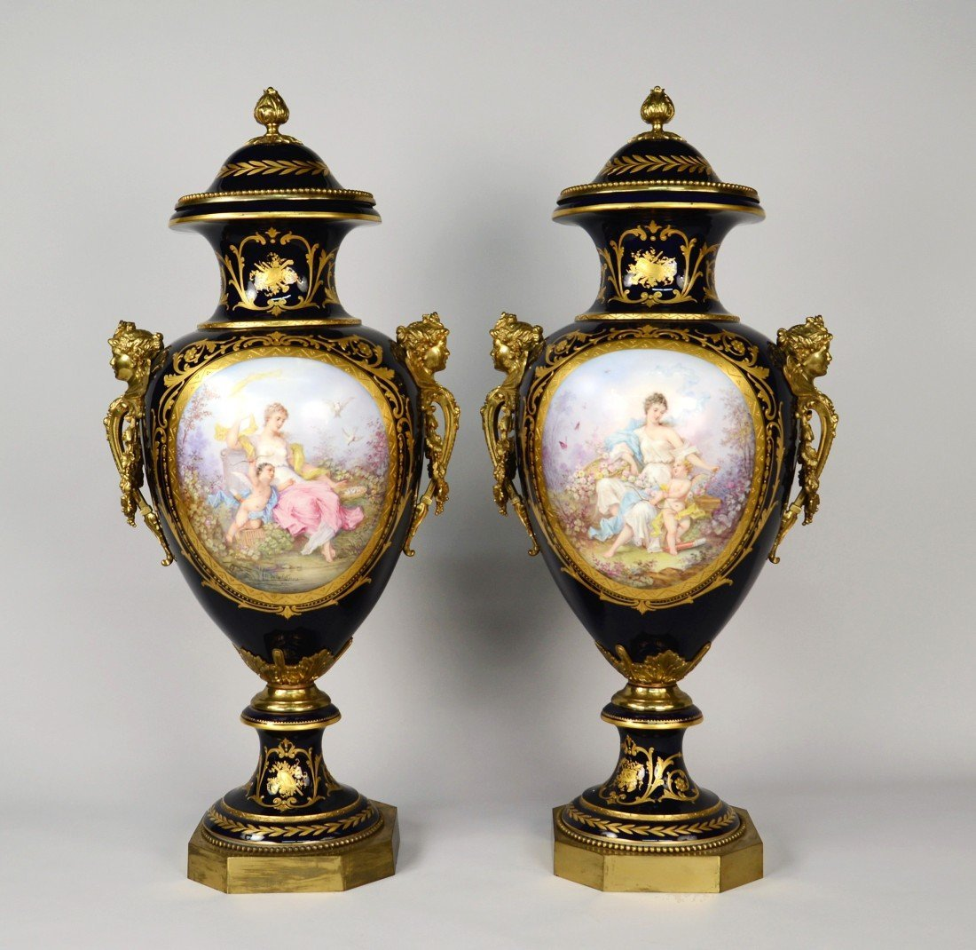 PAIR OF SEVRES COBALT GROUND ORMOLU MOUNTED COVERED