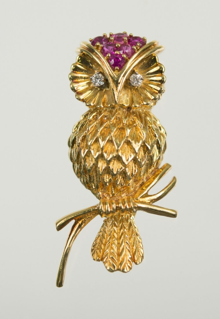 18K GOLD, DIAMOND, AND RUBY OWL BROOCH, Tiffany & Co.