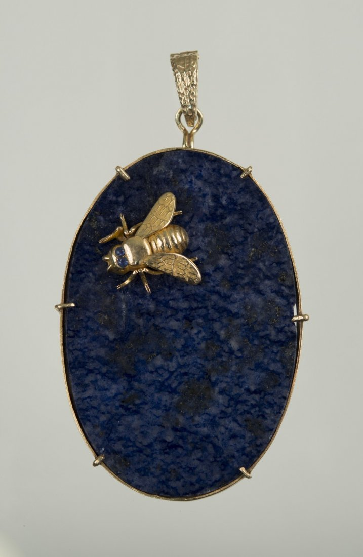 14K YELLOW GOLD AND LAPIS PENDANT, Hammerman Brothers