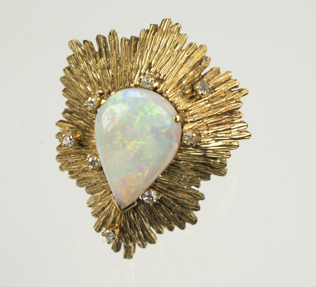 14K YELLOW GOLD, OPAL, AND DIAMOND RING