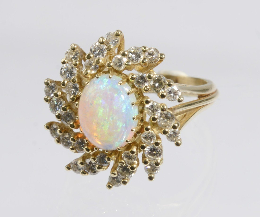 14K YELLOW GOLD, DIAMOND, AND OPAL RING