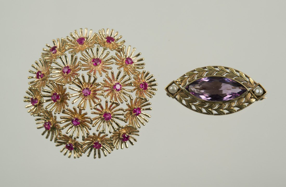 TWO 14K YELLOW GOLD AND GEMSET BROOCHES