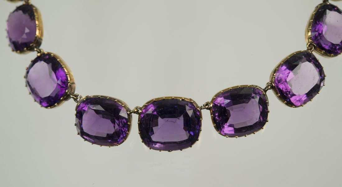 14K YELLOW GOLD AND AMETHYST NECKLACE