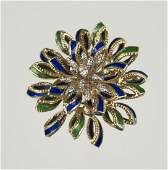 14K YELLOW GOLD DIAMOND AND ENAMEL BROOCH