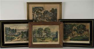 CURRIER & IVES  (American, 19th century) FOUR PRINTS
