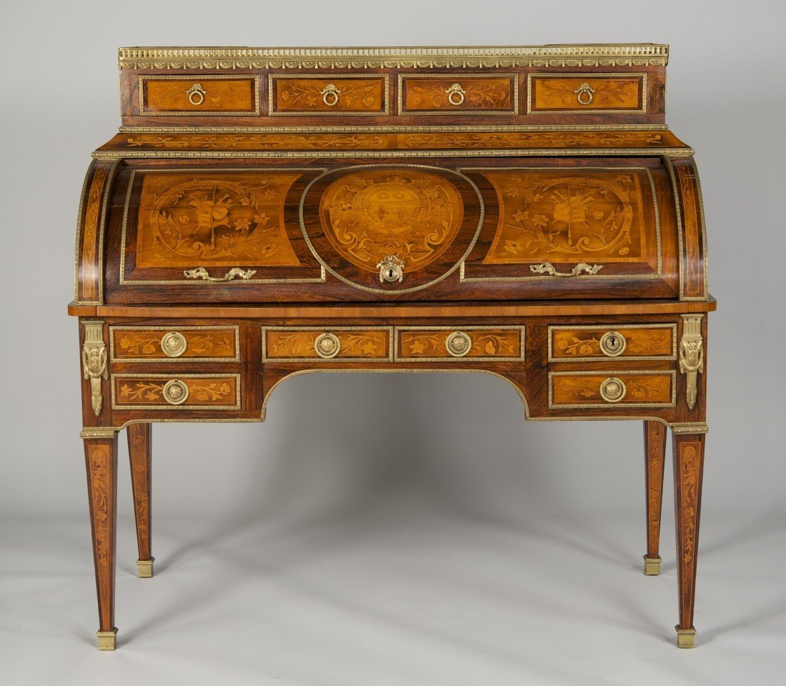 LOUIS XVI STYLE FRUITWOOD MARBLE TOP CYLINDER DESK;