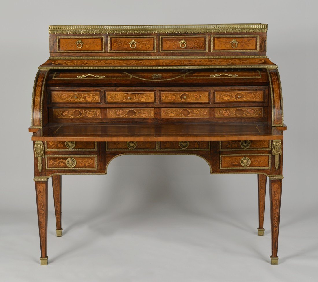 LOUIS XVI STYLE FRUITWOOD MARBLE TOP CYLINDER DESK; - 2