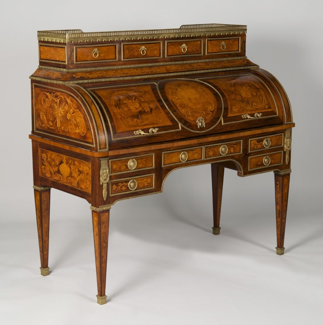 LOUIS XVI STYLE FRUITWOOD MARBLE TOP CYLINDER DESK; - 3
