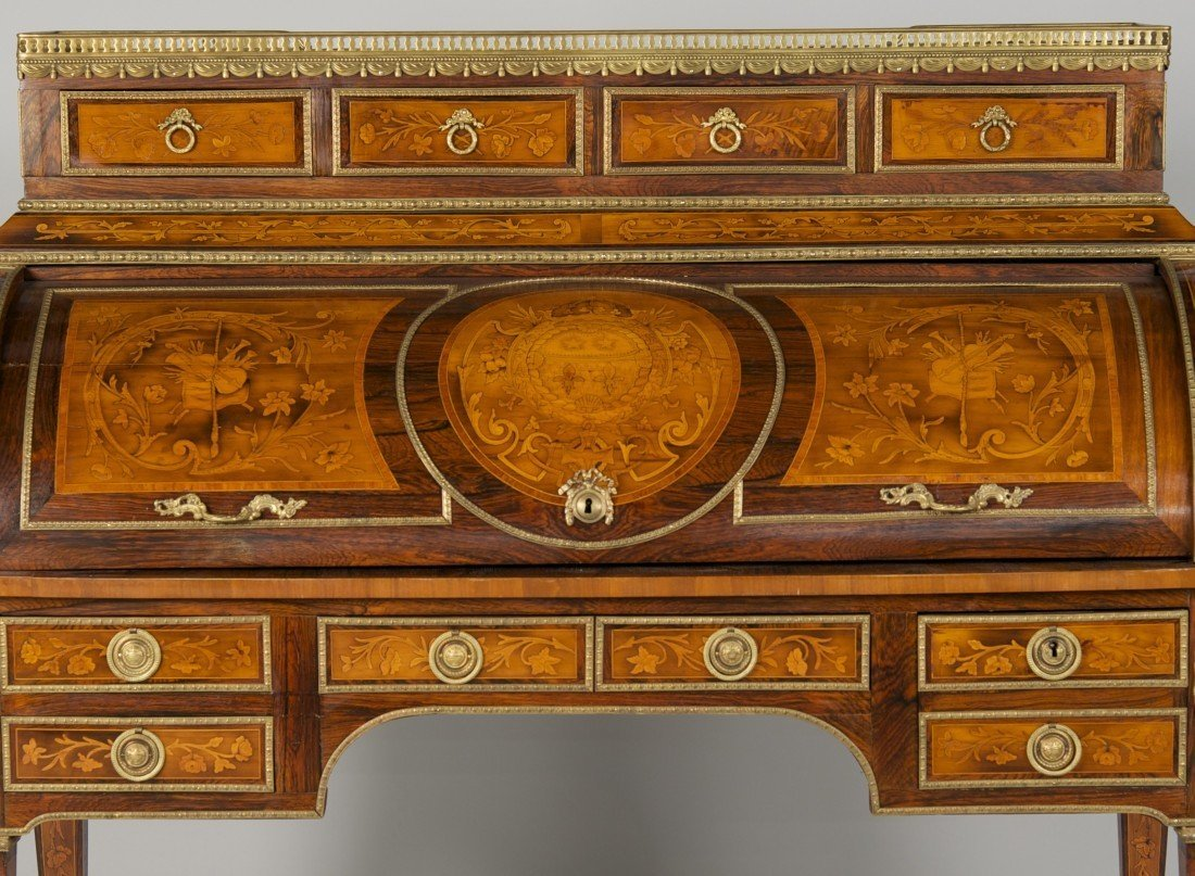 LOUIS XVI STYLE FRUITWOOD MARBLE TOP CYLINDER DESK; - 4