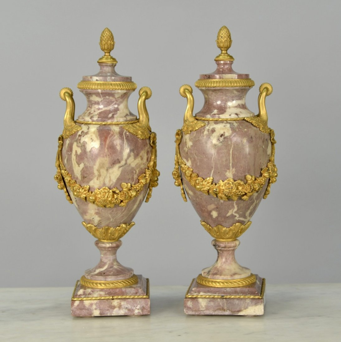 PAIR OF LOUIS XV STYLE ROUGE MARBLE  CASSOLETTES;