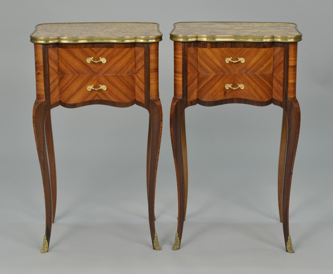 PAIR OF PETITE LOUIS XV STYLE FRUITWOOD  SIDE TABLES;