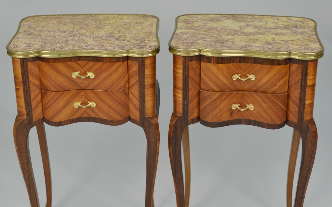 PAIR OF PETITE LOUIS XV STYLE FRUITWOOD  SIDE TABLES; - 2