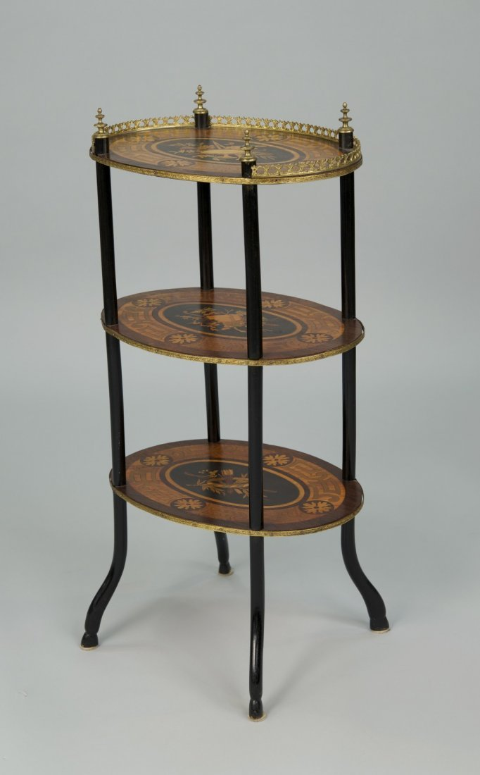 FRENCH  INLAID THREE TIER STAND;