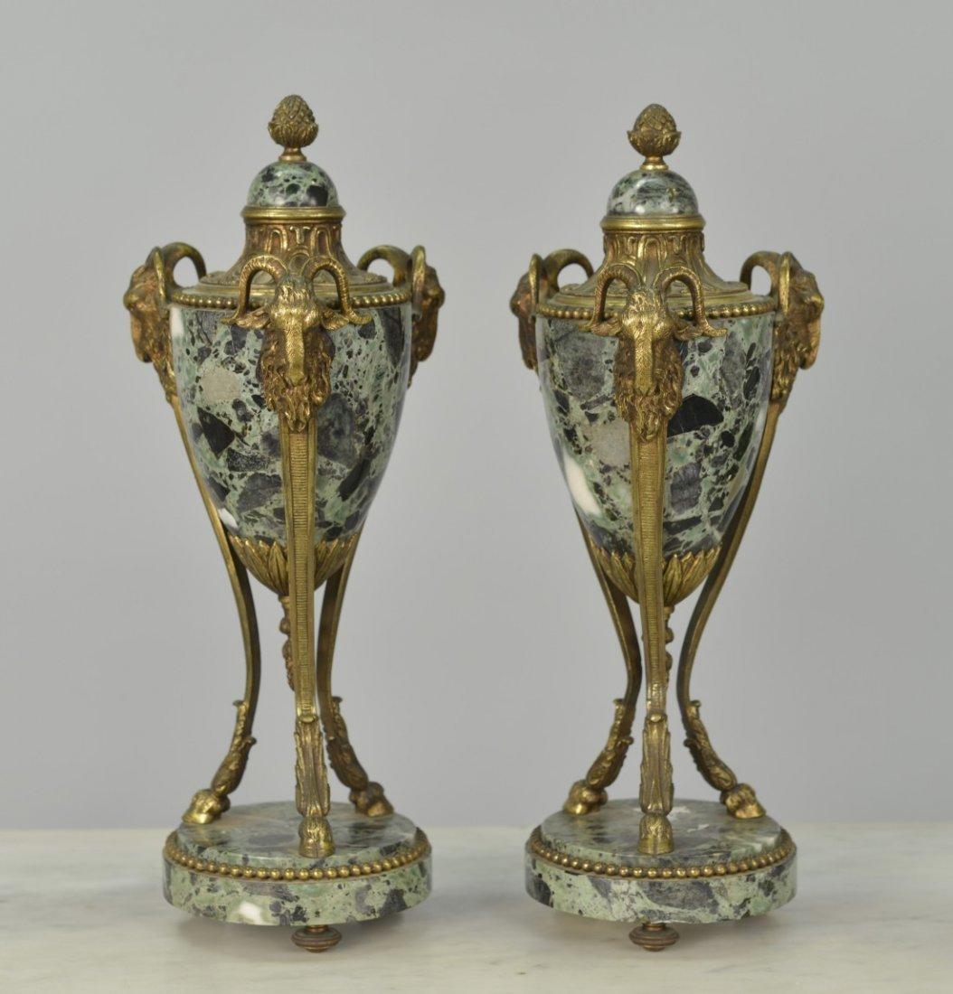 PAIR OF LOUIS XVI STYLE VERDE MARBLE CASSOLETTES;