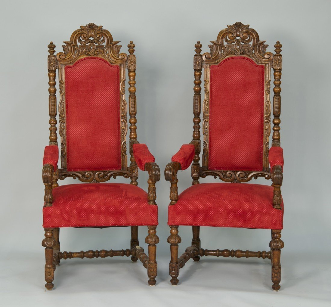 PAIR OF CONTINENTAL CARVED WALNUT  ARMCHAIRS;