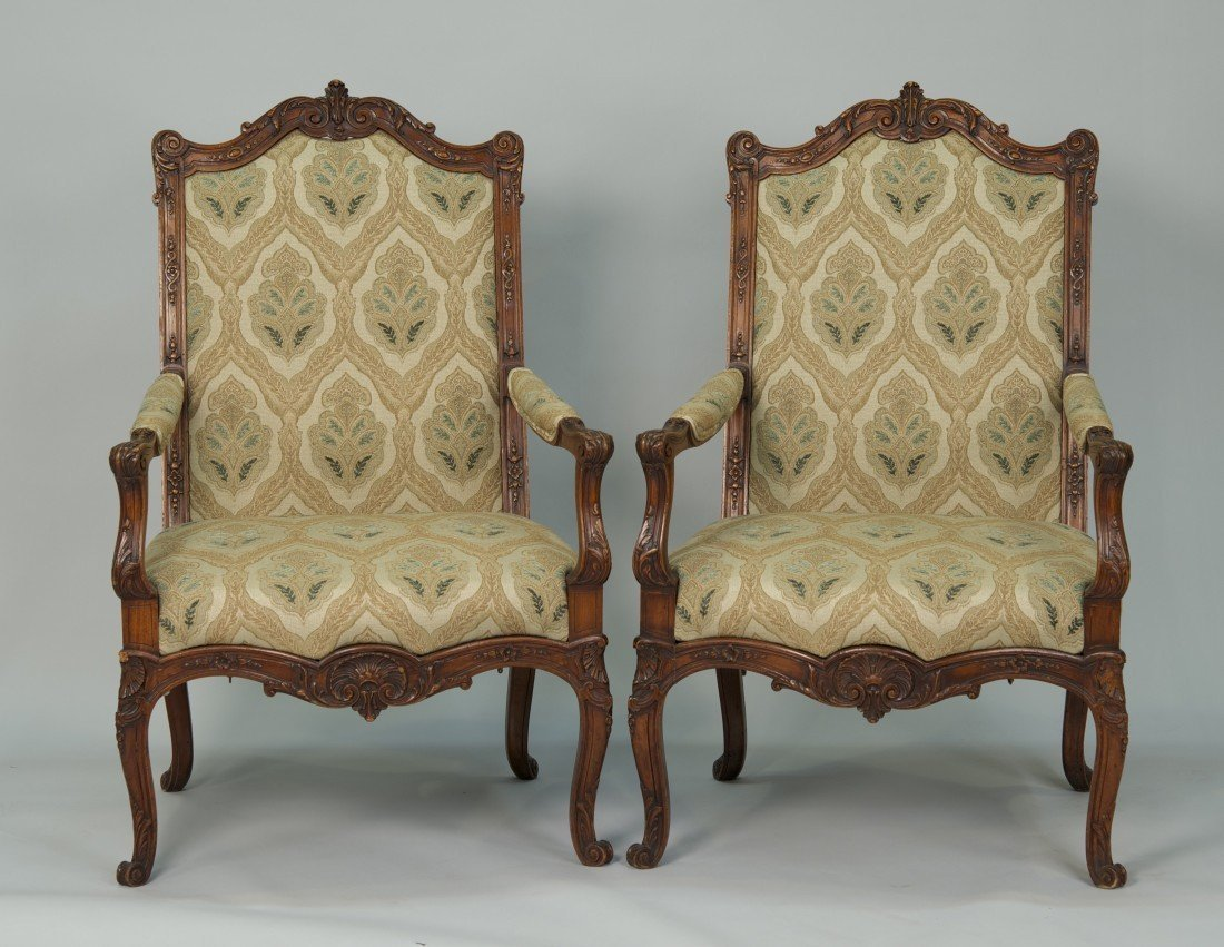 PAIR OF FRENCH CARVED FRUITWOOD  FAUTEUILS;