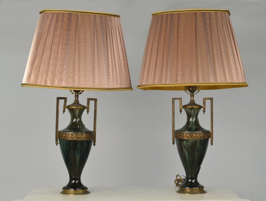 PAIR OF FRENCH  ORMOLU MOUNTED VASE FORM LAMPS;