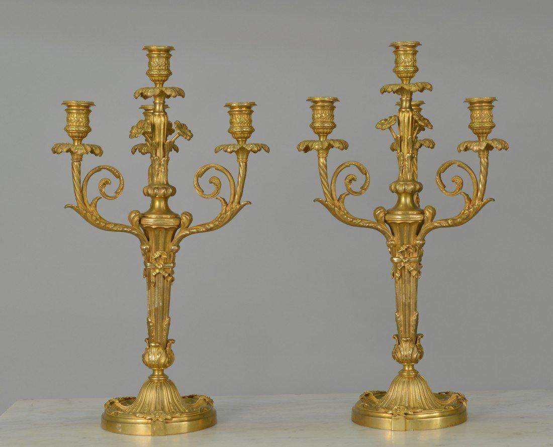 PAIR OF LOUIS XVI STYLE GILT BRONZE  CANDELABRA;
