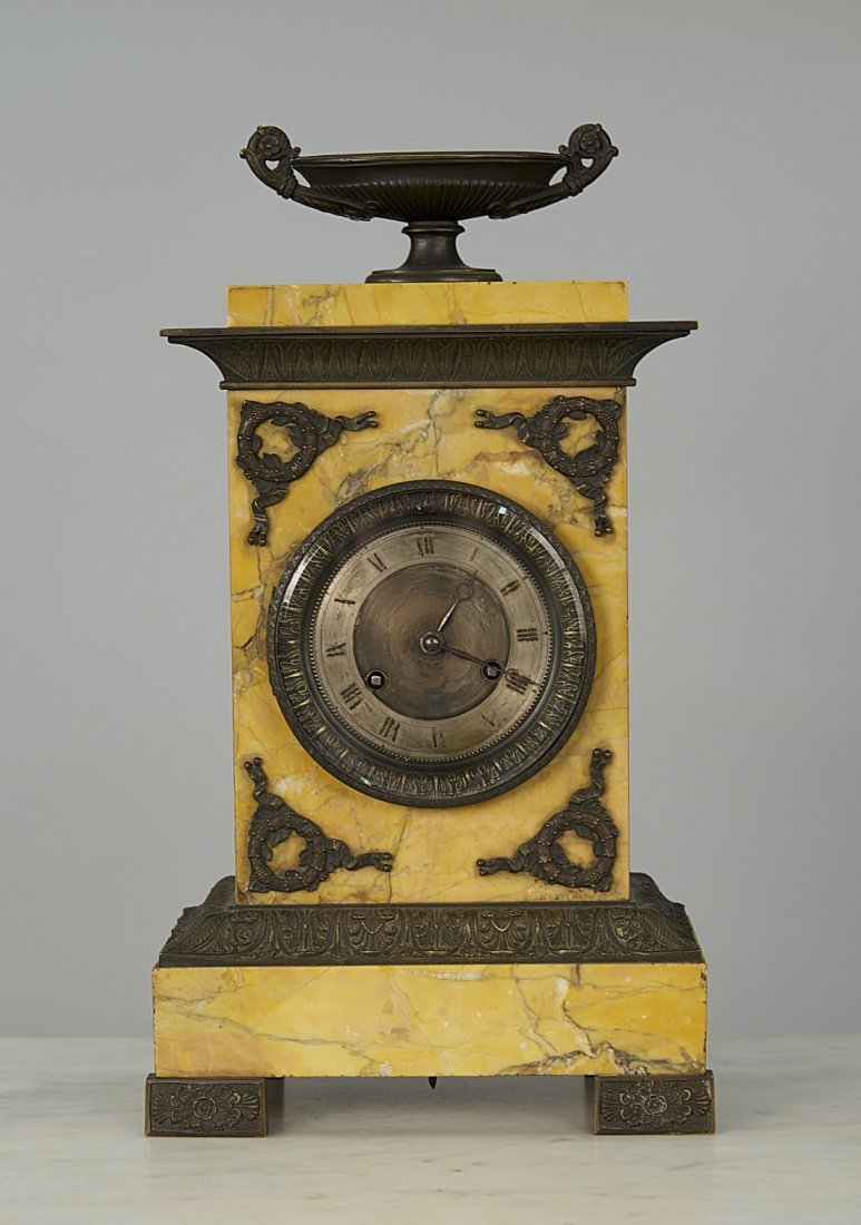 FRENCH EMPIRE BRONZE MOUNTED MARBLE MANTEL CLOCK;