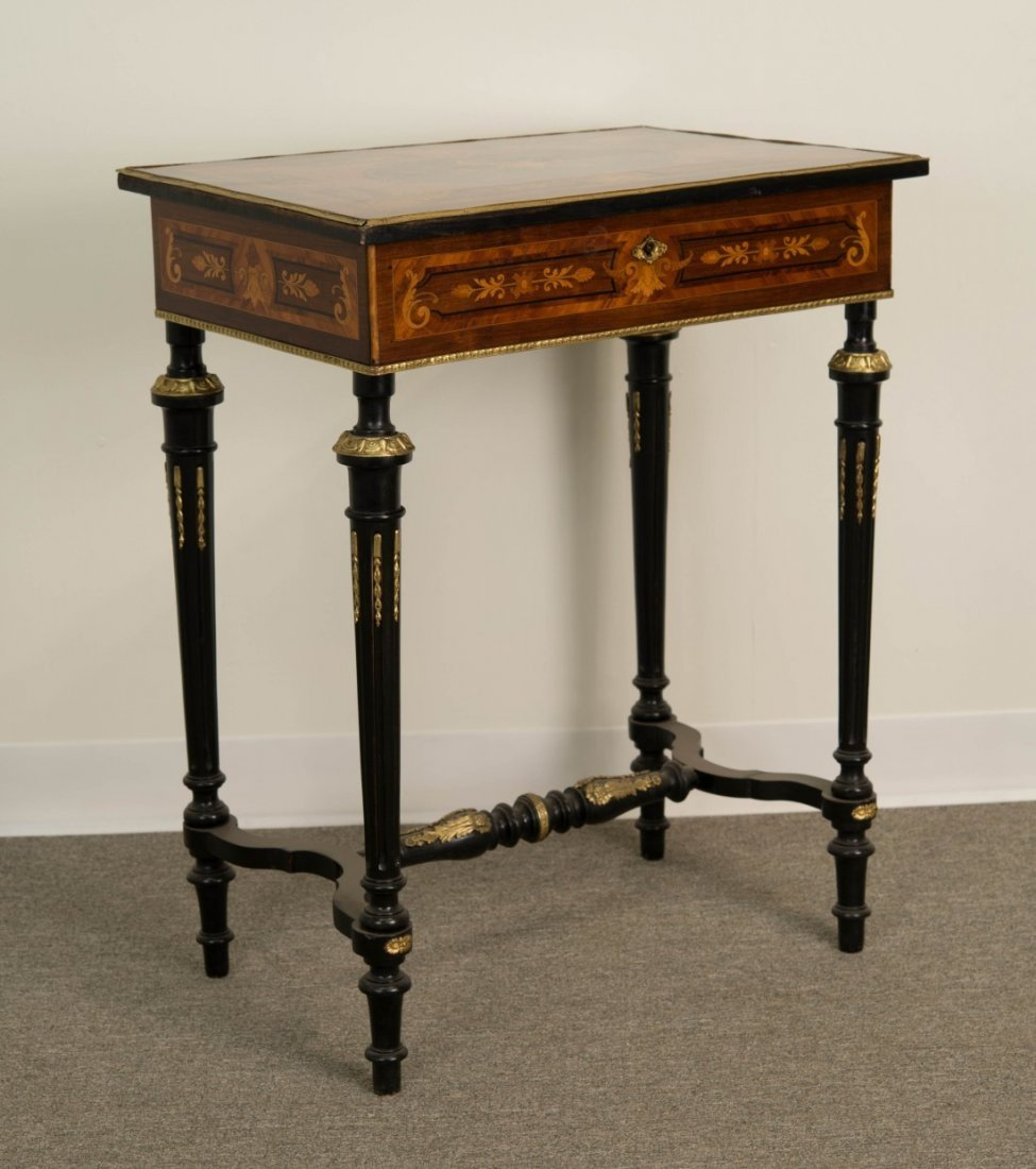 LOUIS XVI STYLE FRUITWOOD  LIFT TOP SIDE TABLE;