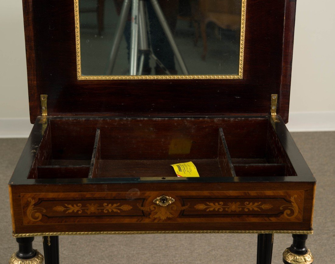 LOUIS XVI STYLE FRUITWOOD  LIFT TOP SIDE TABLE; - 3
