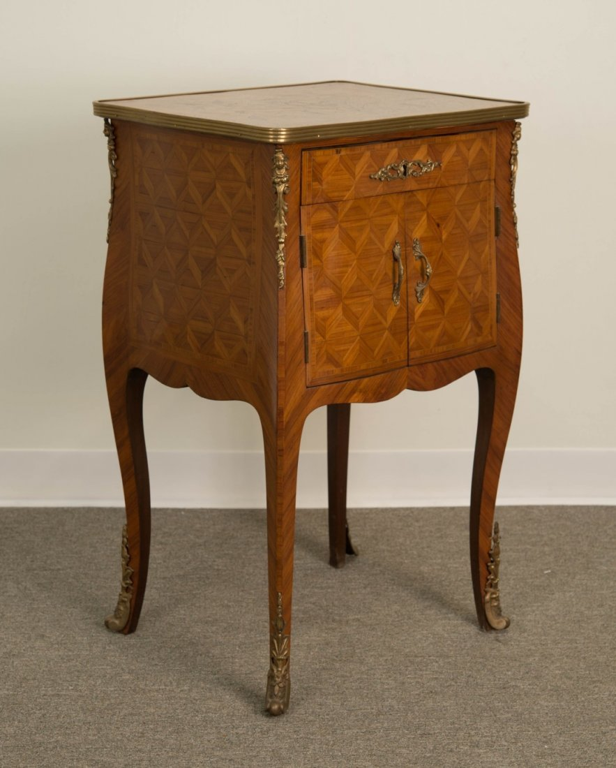 LOUIS XV STYLE FRUITWOOD LIFT TOP DRESSING TABLE;