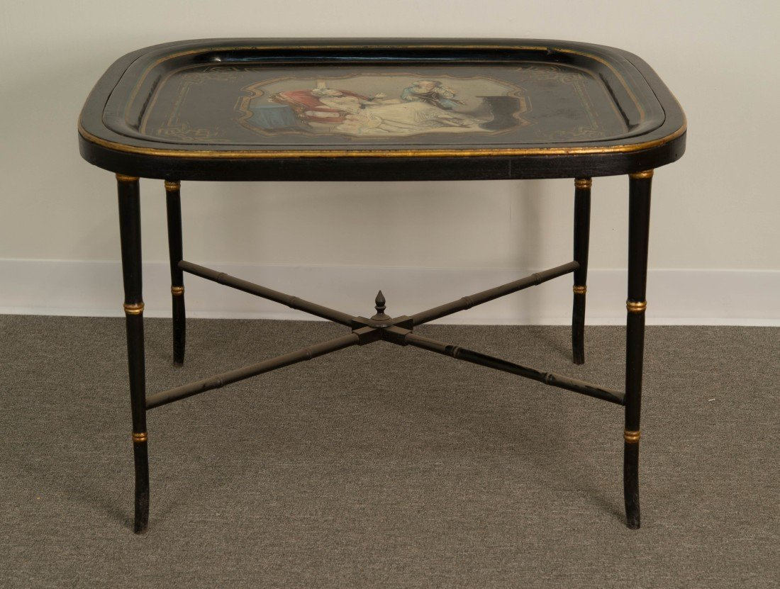 CONTINENTAL TOLE PEINTE DECORATED TRAY ON BASE;