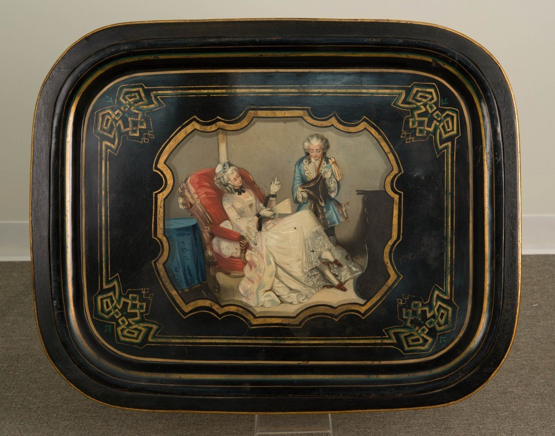 CONTINENTAL TOLE PEINTE DECORATED TRAY ON BASE; - 2