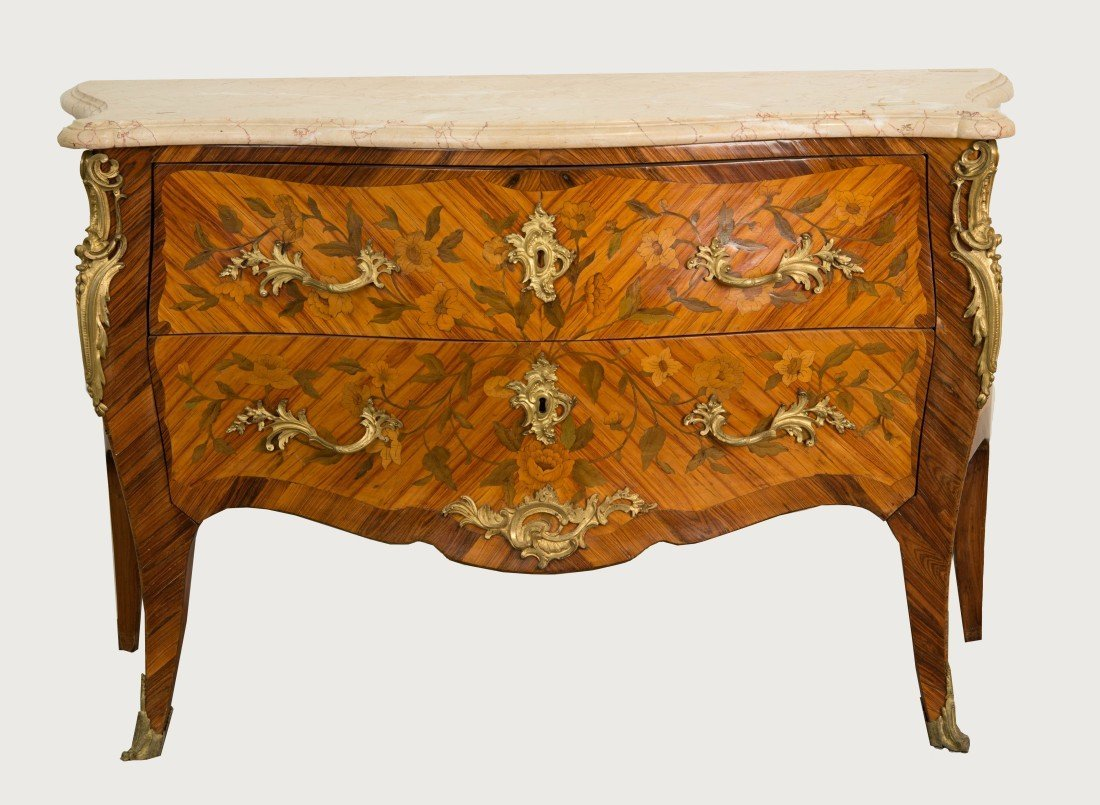 LOUIS XV STYLE FRUITWOOD MARBLE TOP  COMMODE;