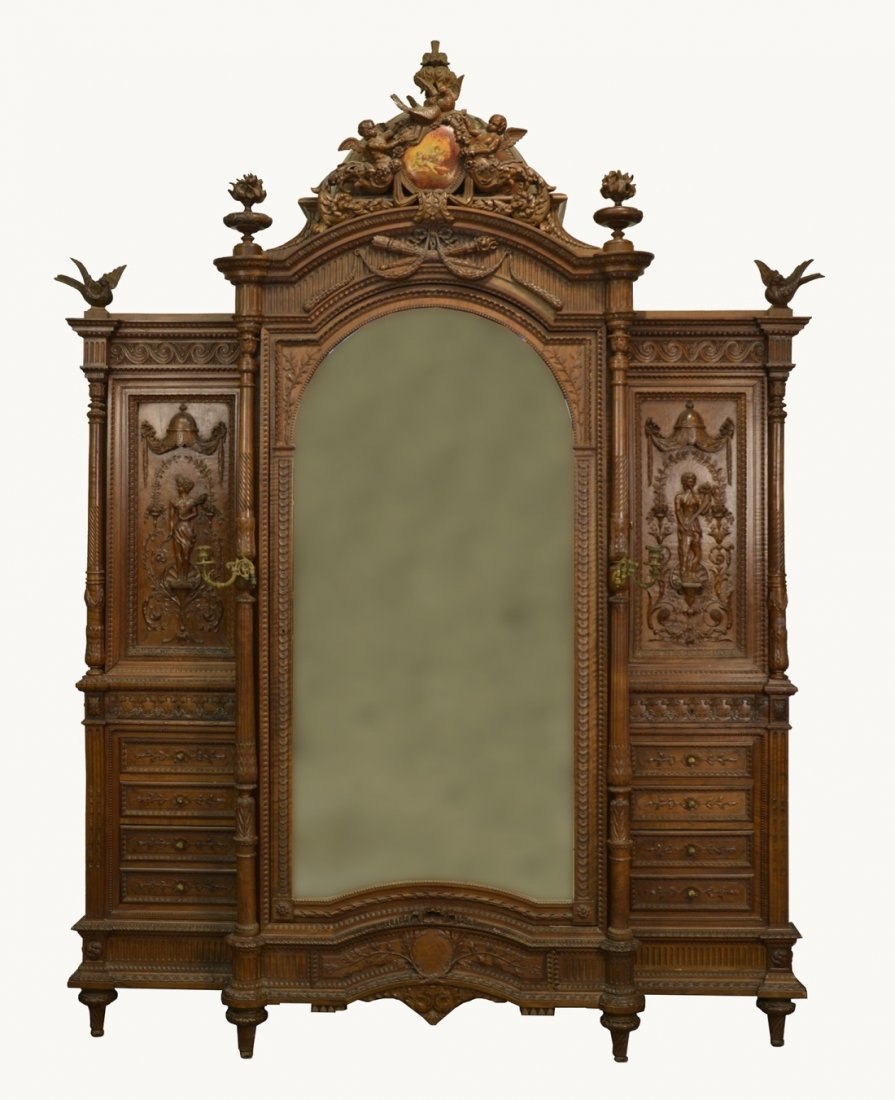 FRENCH EMPIRE STYLE FINELY CARVED WALNUT ARMOIRE;