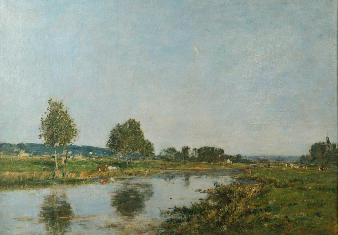 EUGENE BOUDIN, (French, 1824-1898), LA RIVIERES MORTE A