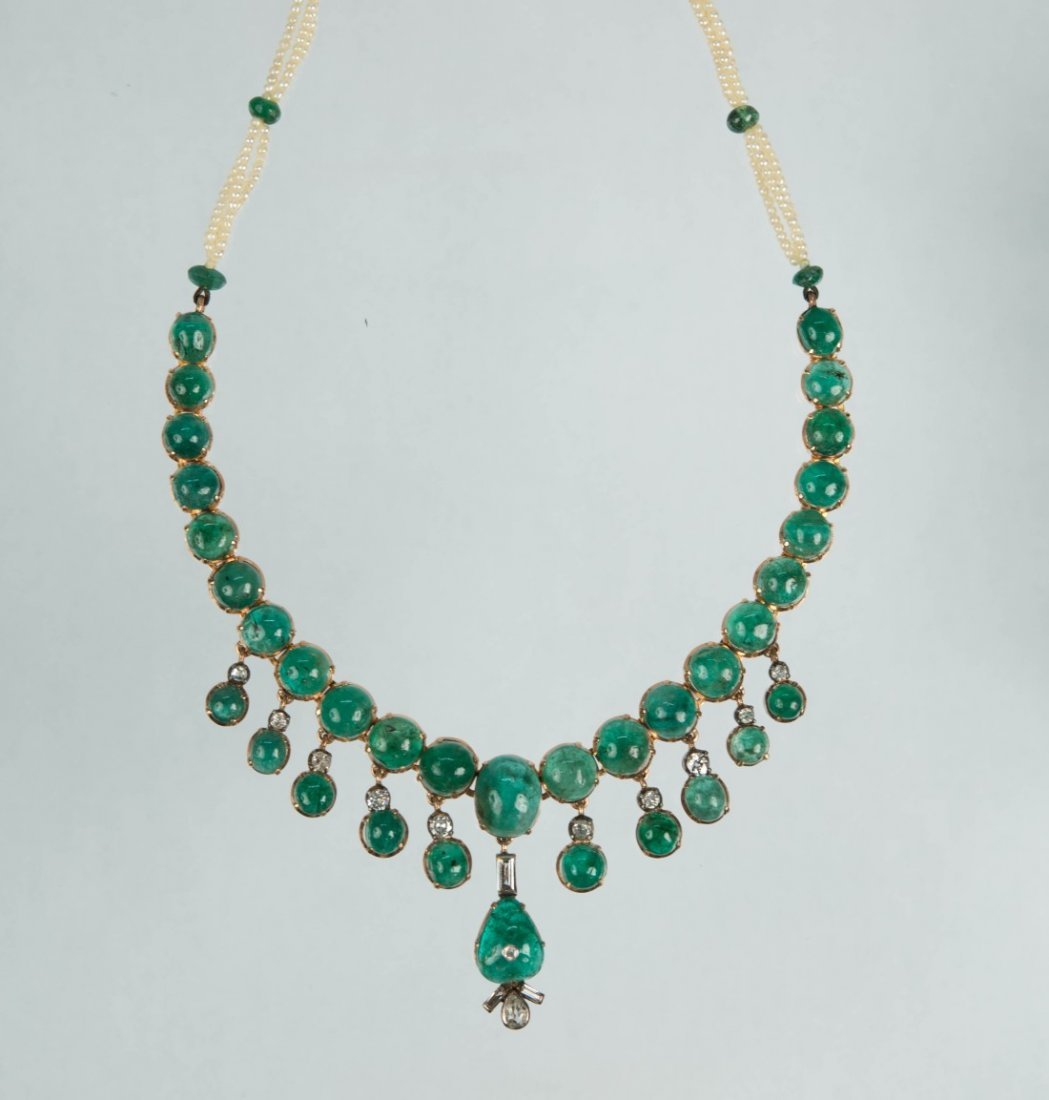 14K GOLD, SILVER, EMERALD, DIAMOND, AND PEARL NECKLACE,
