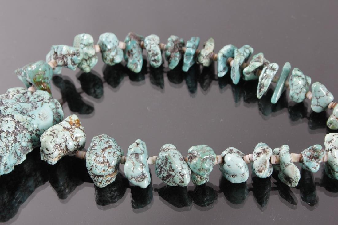 Early Navajo No 8 Spider Matrix Turquoise Necklace - 5