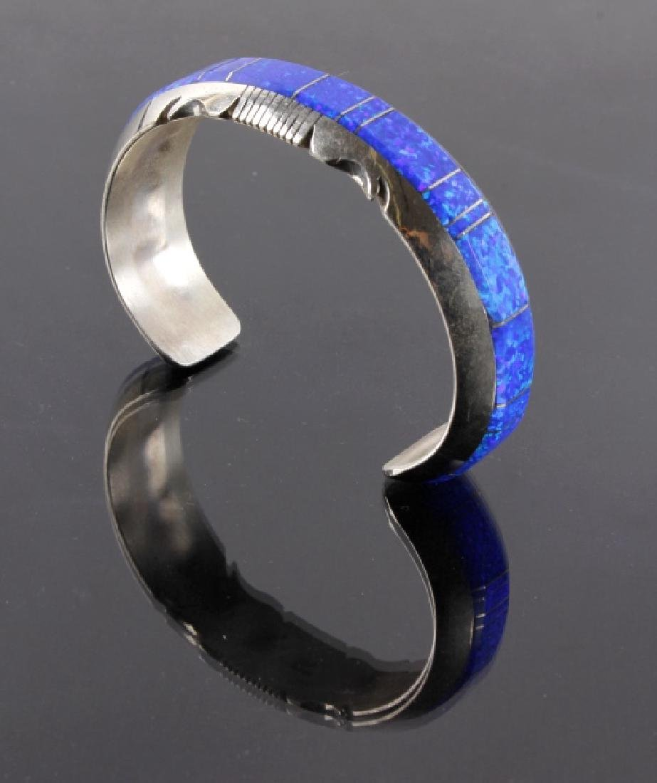 Navajo Blue Lightning Ridge Opal Sterling Bracelet