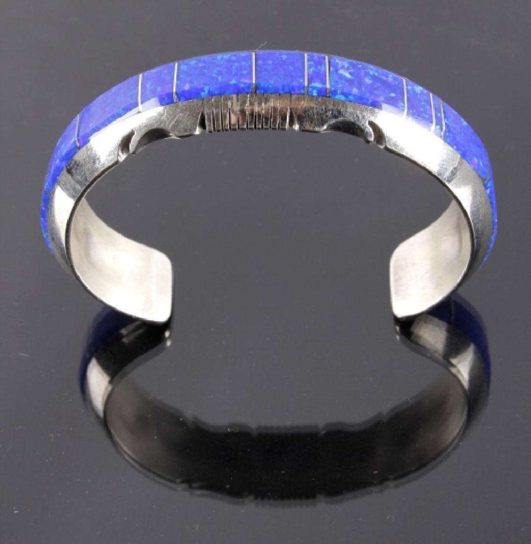 Navajo Blue Lightning Ridge Opal Sterling Bracelet - 2