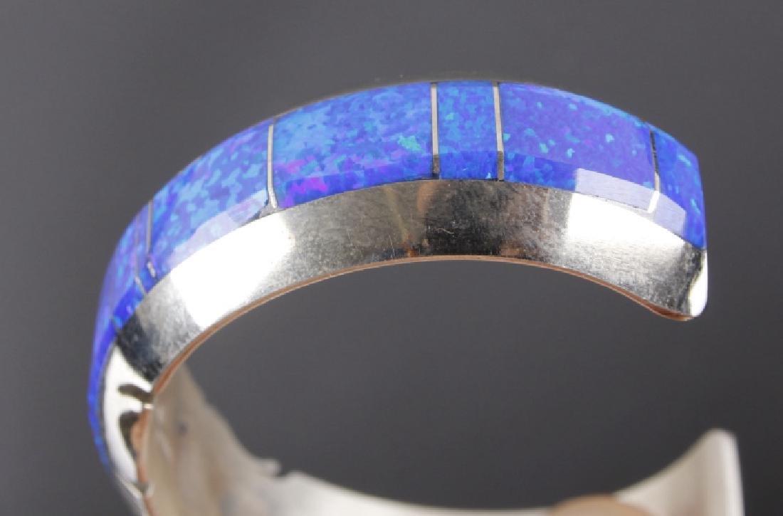 Navajo Blue Lightning Ridge Opal Sterling Bracelet - 3