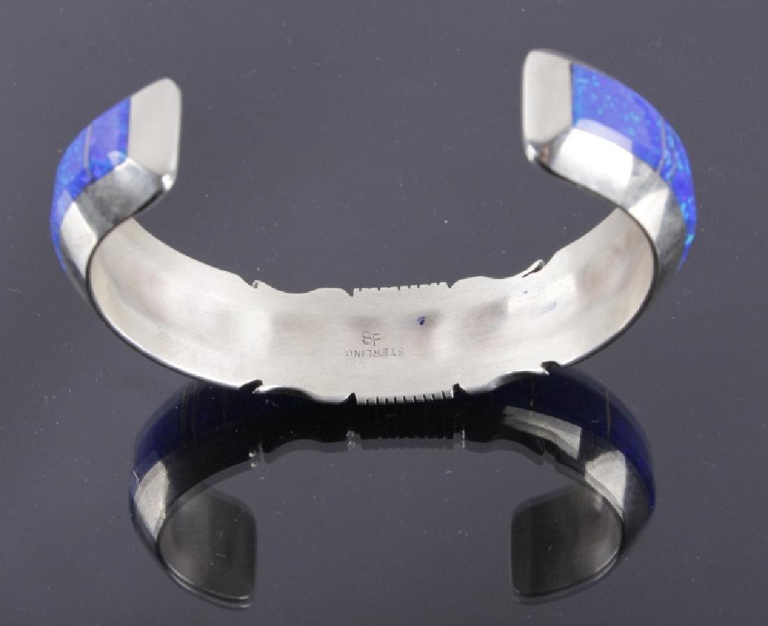 Navajo Blue Lightning Ridge Opal Sterling Bracelet - 6