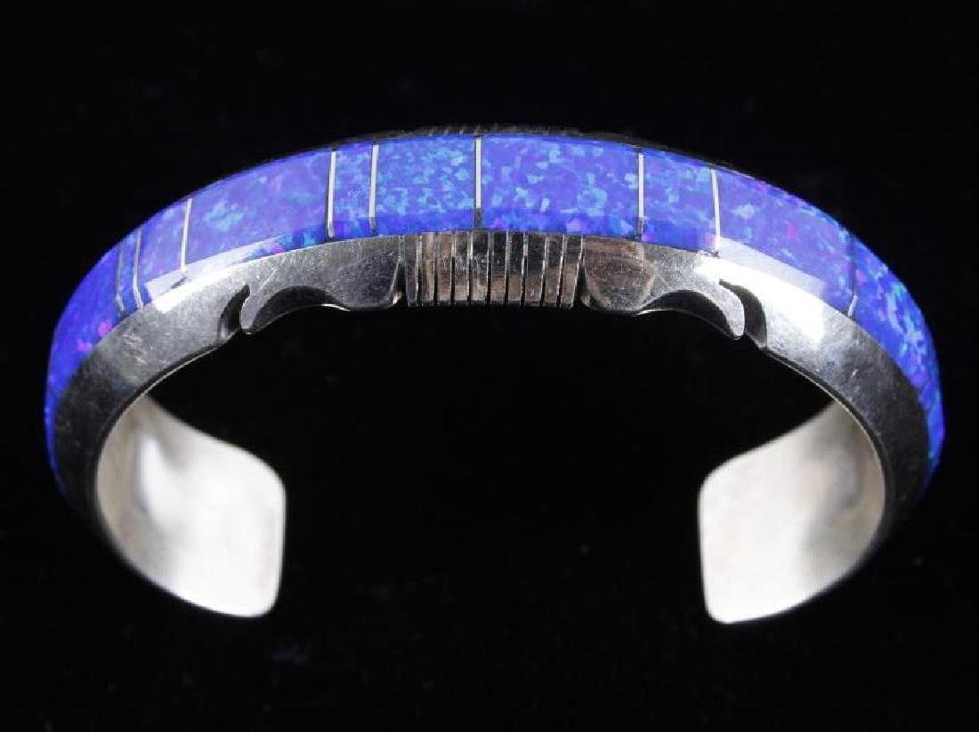 Navajo Blue Lightning Ridge Opal Sterling Bracelet - 8