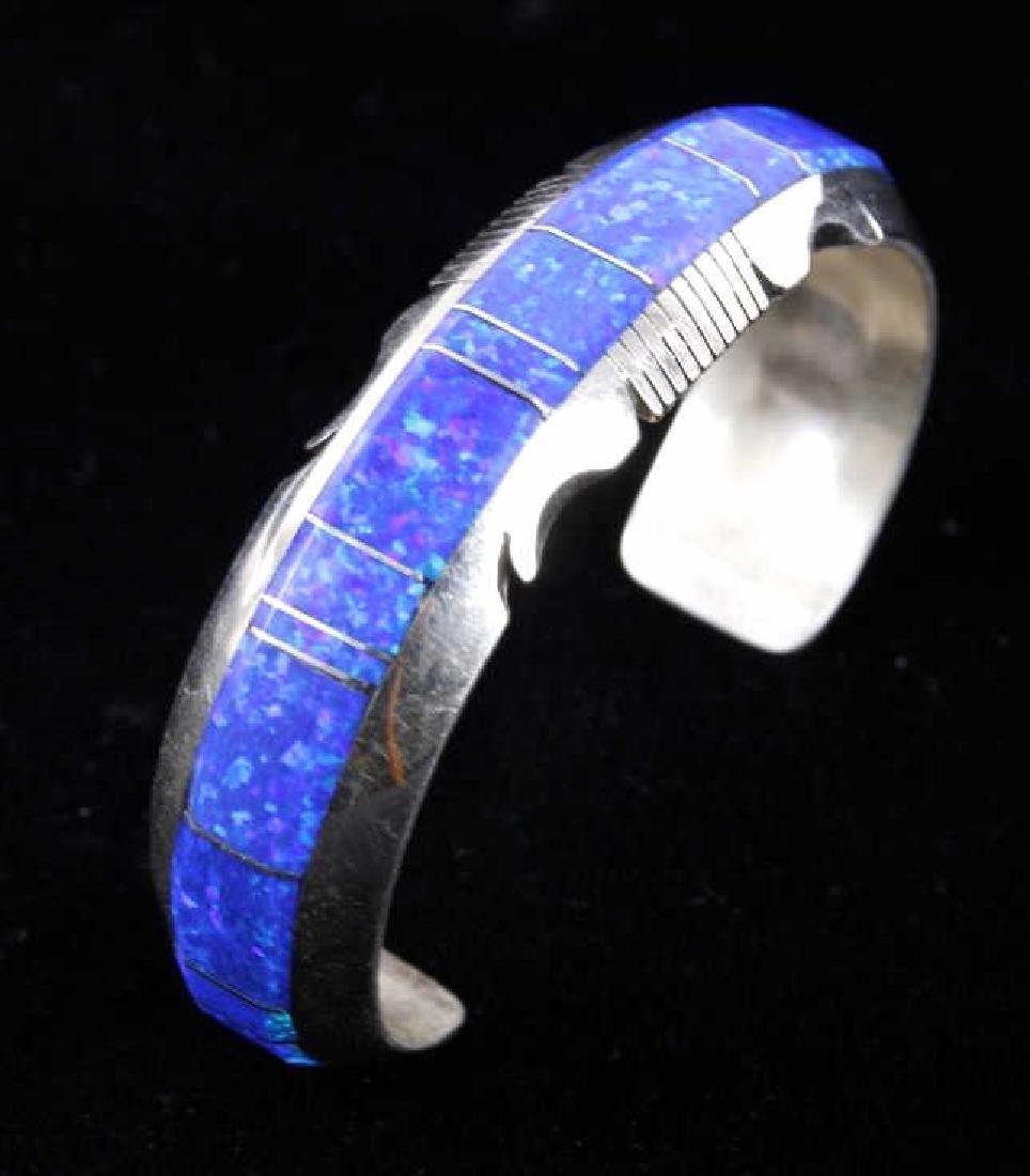 Navajo Blue Lightning Ridge Opal Sterling Bracelet - 9
