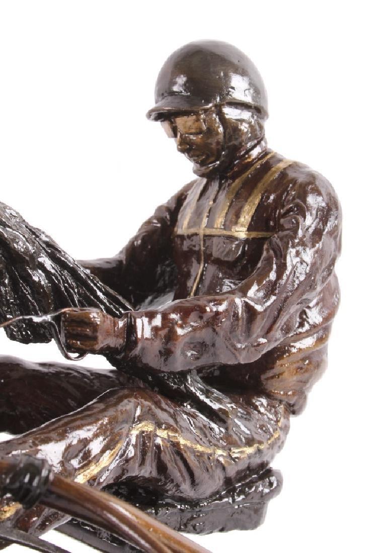 Claudia Steinley Horse Racing Bronze Sculpture - 6