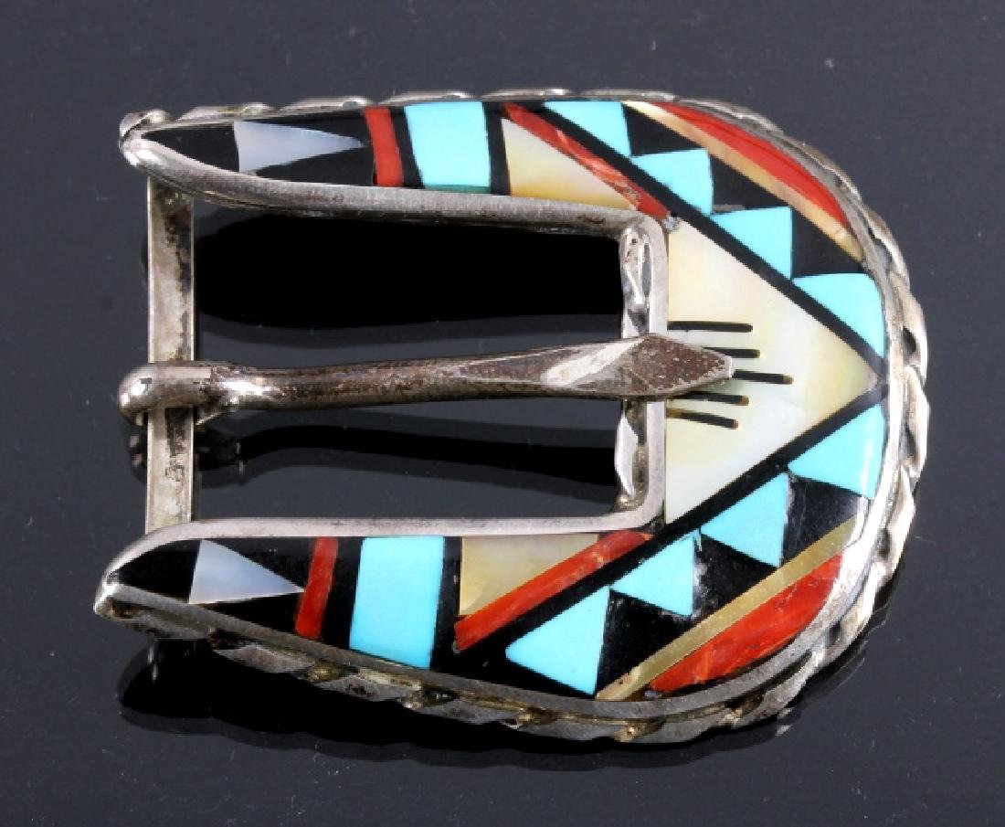 Zuni Sterling Silver Inlaid Ranger Belt Buckle Set - 2